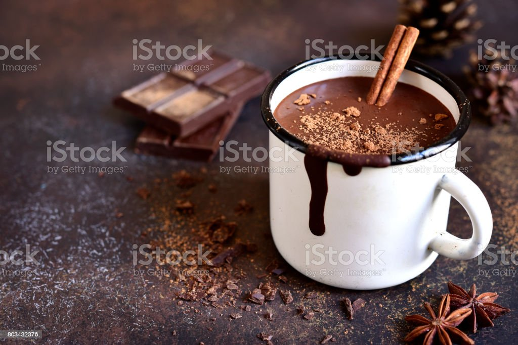 Homemade spicy hot chocolate with cinnamon stock photo