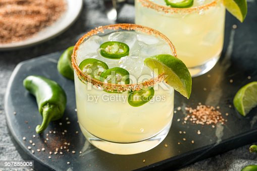 Homemade Spicy Margarita with Limes and Jalapenos