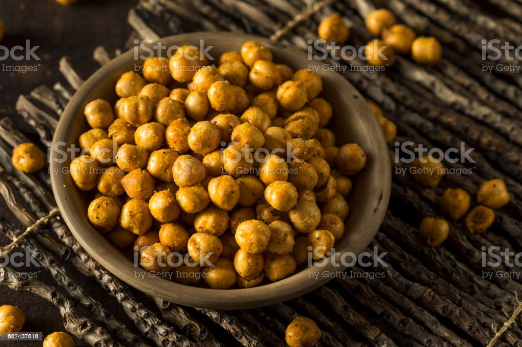 Homemade Spicy Salted Baked Chickpeas stock photo