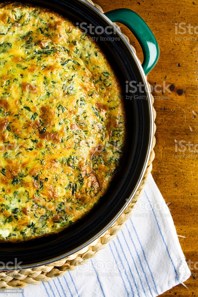 Homemade Spinach Souffle stock photo