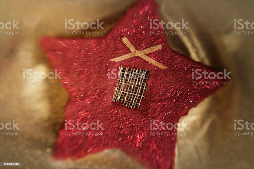 Homemade star-shaped Christmas box stock photo