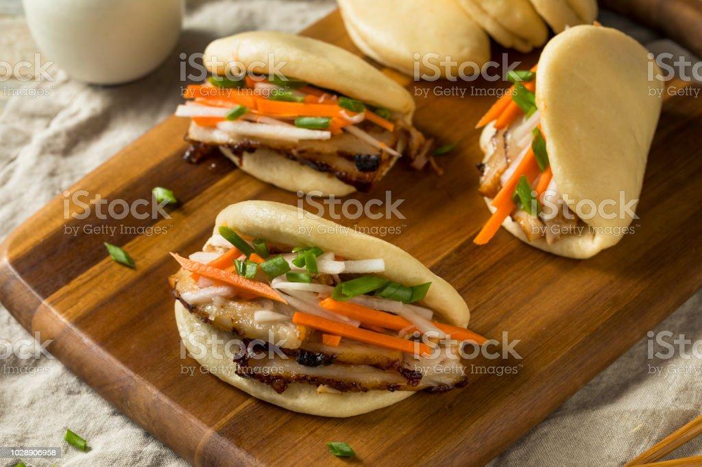 Homemade Steamed Pork Belly Bao Buns stock photo