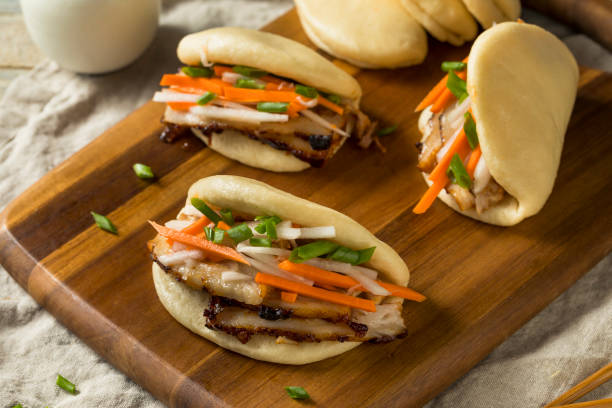 Homemade Steamed Pork Belly Bao Buns stock photo