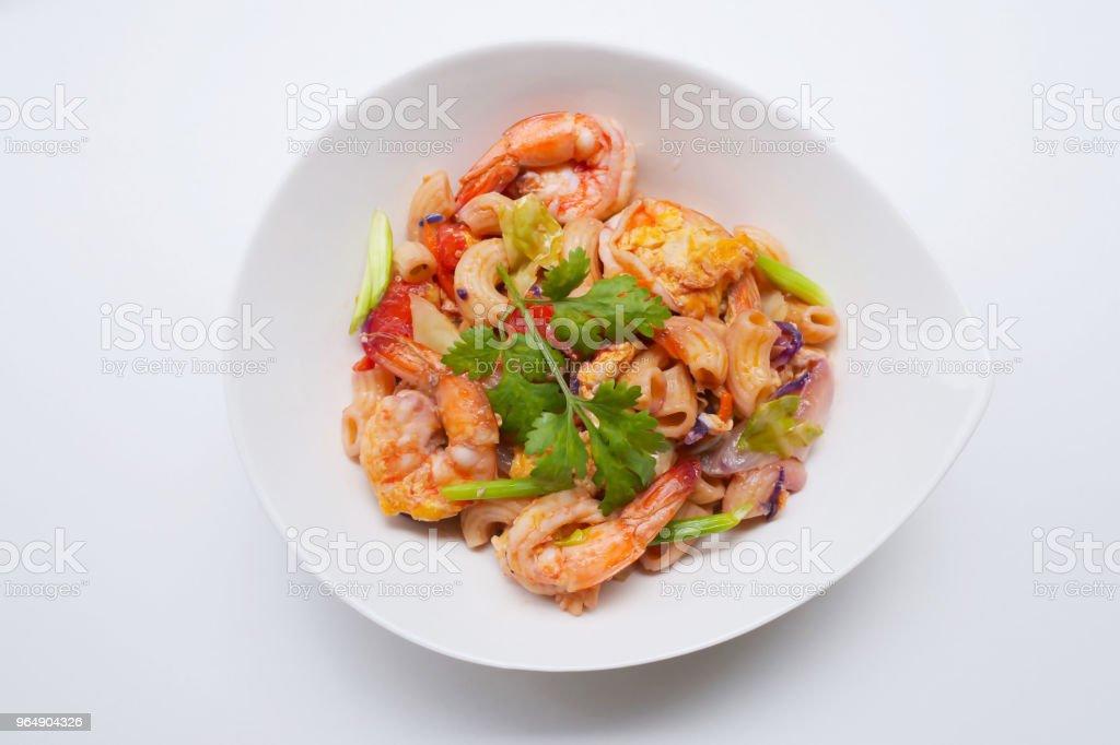homemade Stir fried macaroni with prawn royalty-free stock photo