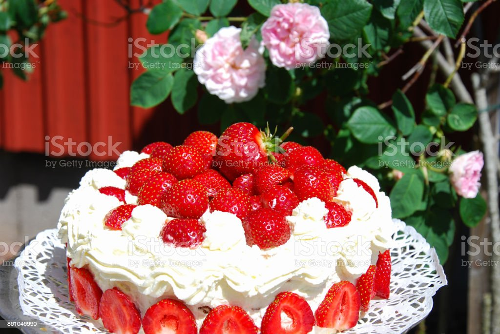 Homemade strawberry cake stock photo