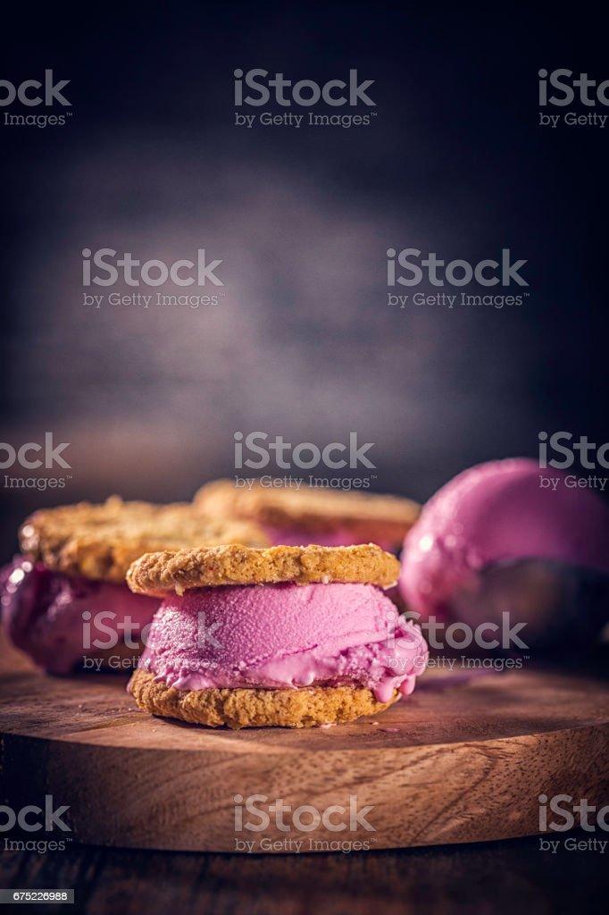 Homemade Strawberry Ice Cream Sandwich royalty-free stock photo