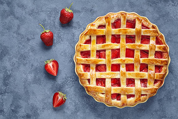 Homemade strawberry pie tart cake sweet baked pastry food stock photo