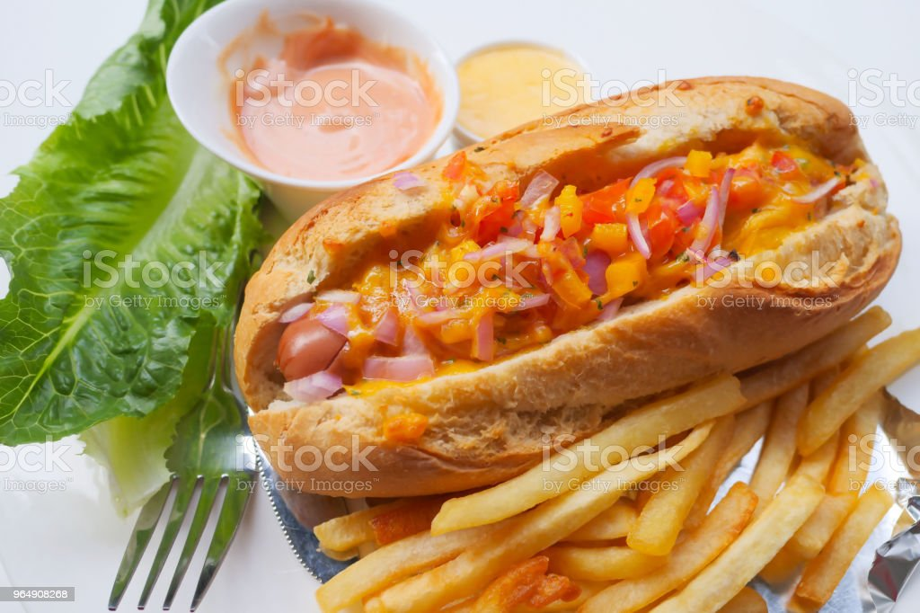 Homemade Style Hot Dog with Cream Cheese and Onions royalty-free stock photo