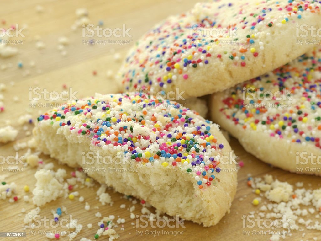 Homemade sugar cookies with color sprinkles stock photo