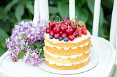 Homemade summer biscuit cake with cream and fresh berries In the garden Lilac Soft focus - Image
