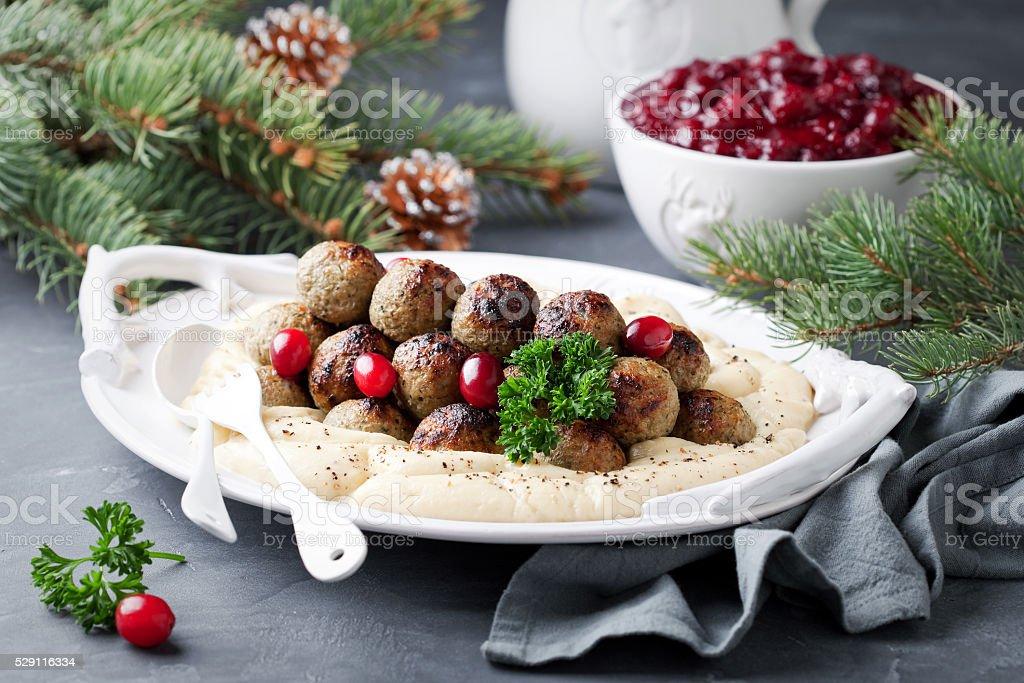 Homemade swedish meatballs stock photo