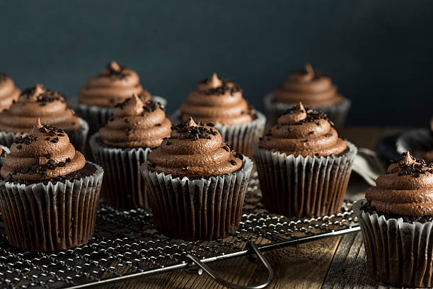 homemade sweet chocolate cupcakes - cupcake stock photos and pictures