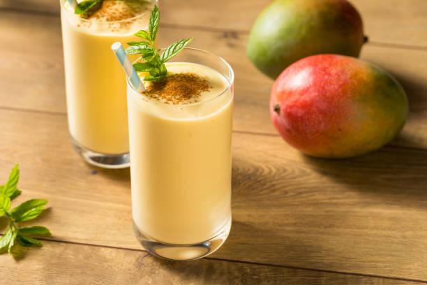 Homemade Sweet Indian Mango Lassi stock photo