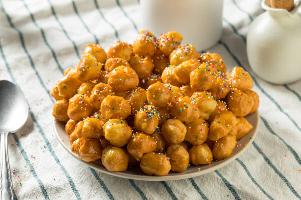 Homemade Sweet Italian Struffoli stock photo