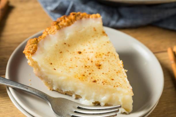 Homemade Sweet Sugar Cream Pie stock photo