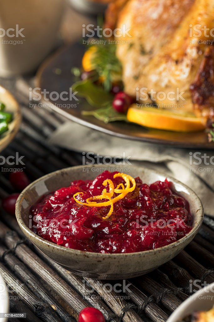 Homemade Thanksgiving Cranberry Sauce stock photo