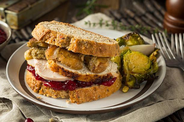 homemade thanksgiving leftover turkey sandwich - thanksgiving leftovers fotografías e imágenes de stock