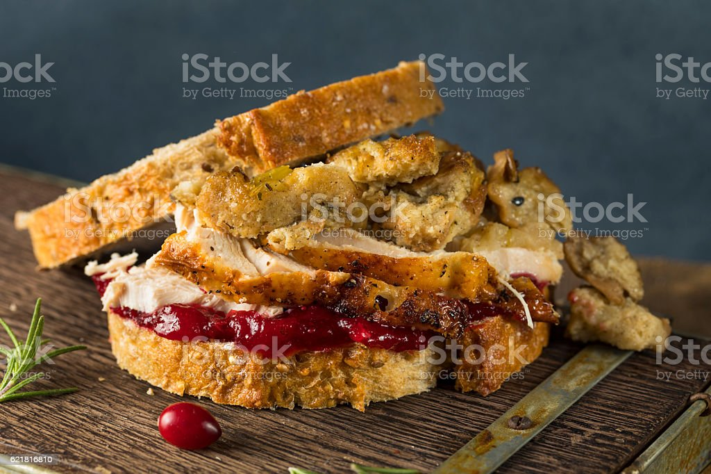 Homemade Thanksgiving Leftover Turkey Sandwich - Foto de stock de Alimento libre de derechos