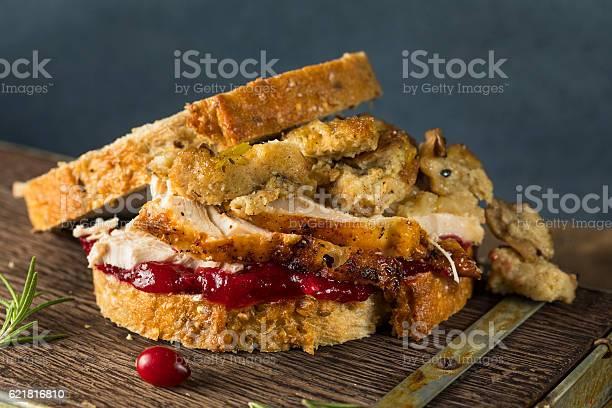 Homemade Thanksgiving Leftover Turkey Sandwich Foto de stock y más banco de imágenes de Alimento