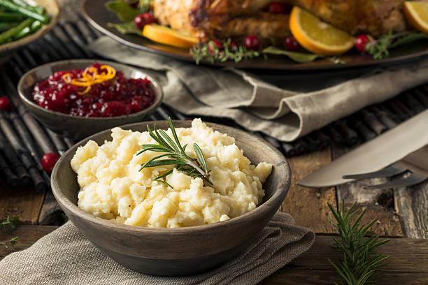 Homemade Thanksgiving Mashed Potatoes stock photo