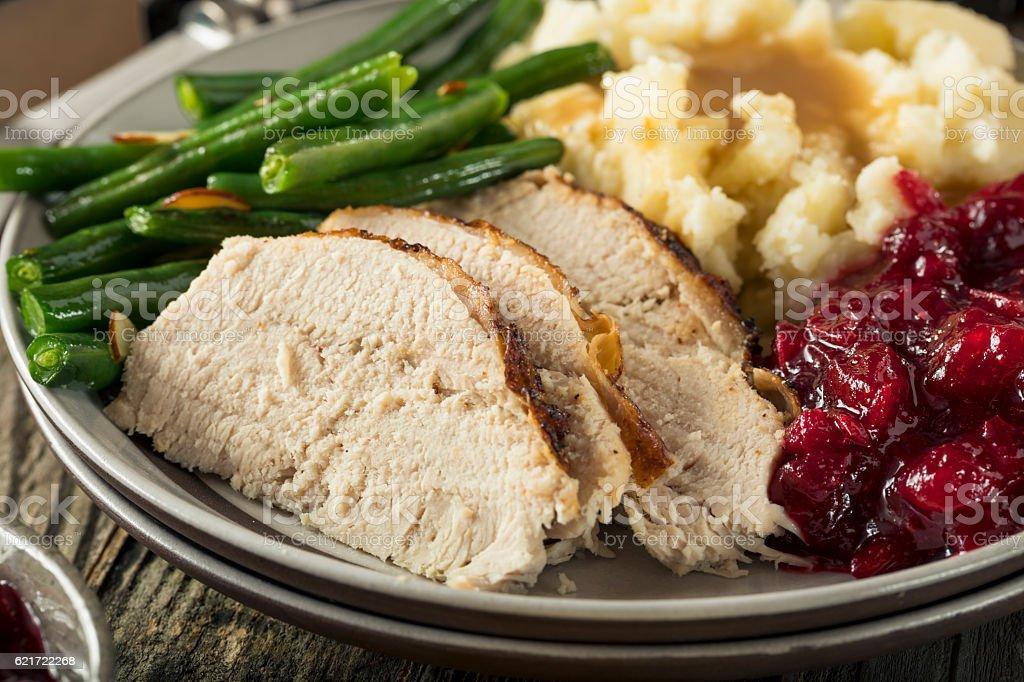 Homemade Thanksgiving Turkey Dinner stock photo