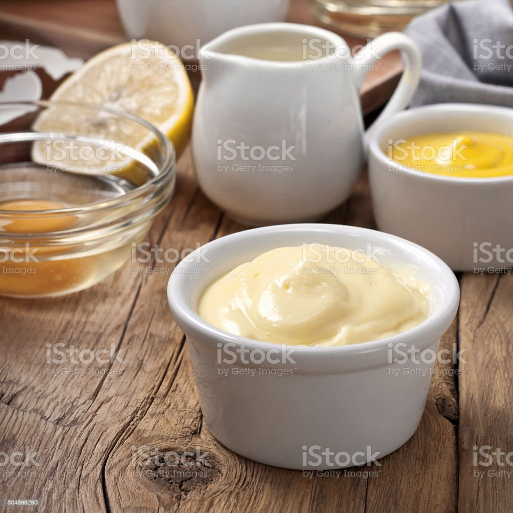 homemade the mayonnaise with products for making mayonnaise stock photo