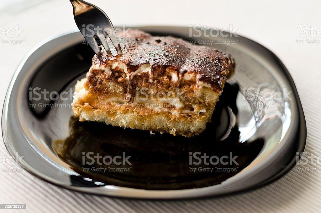 Homemade tiramisu cake traditional dessert, selective focus stock photo