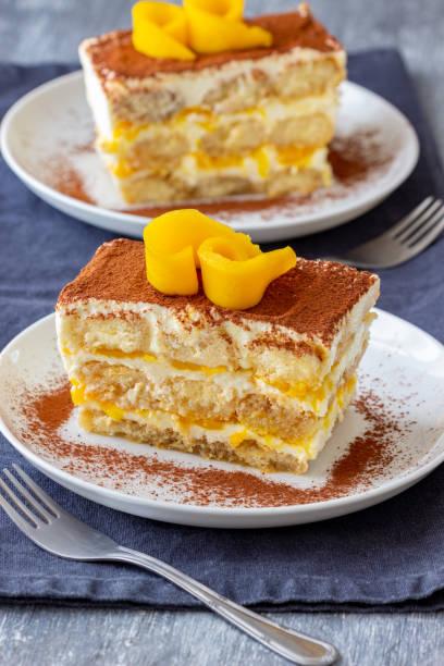 Homemade Tiramisu Cake with Mango stock photo
