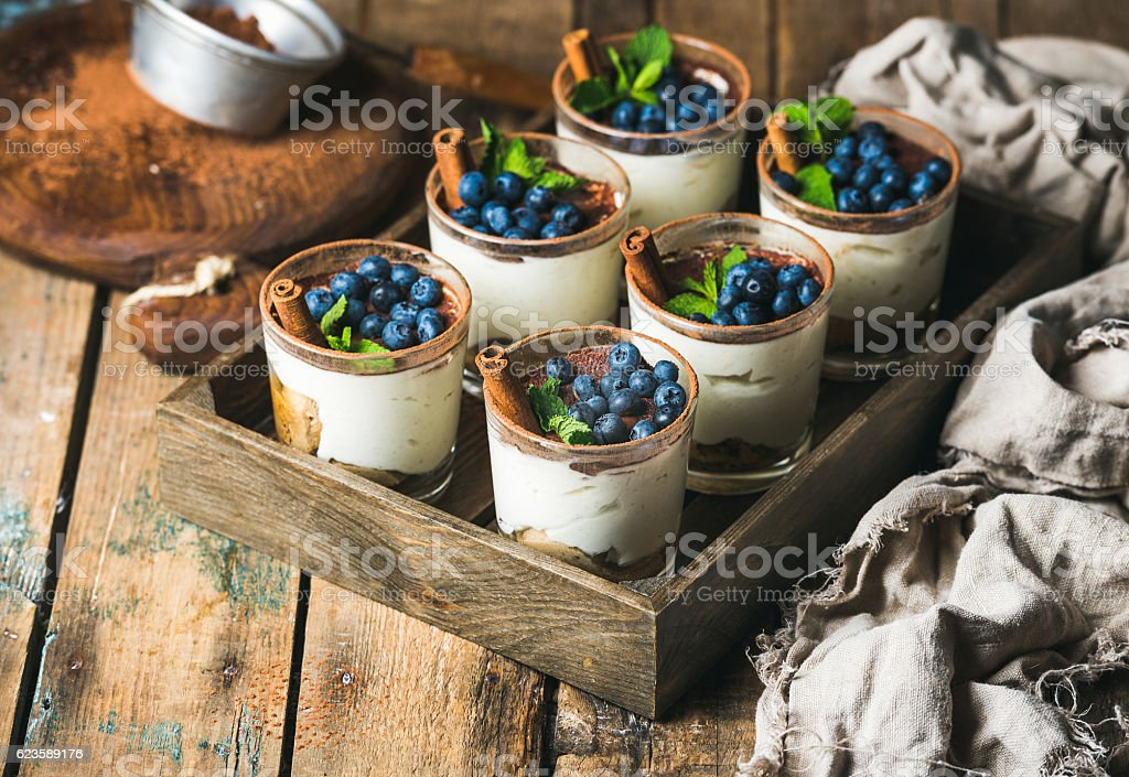 Homemade Tiramisu dessert in glasses with cinnamon, mint and blueberry - foto de acervo