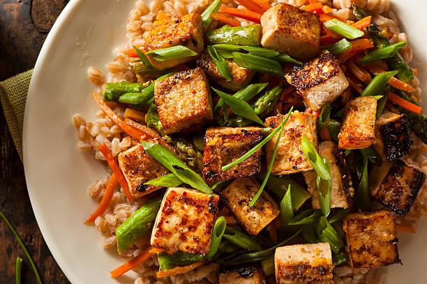 homemade tofu stir fry - tofoe stockfoto's en -beelden