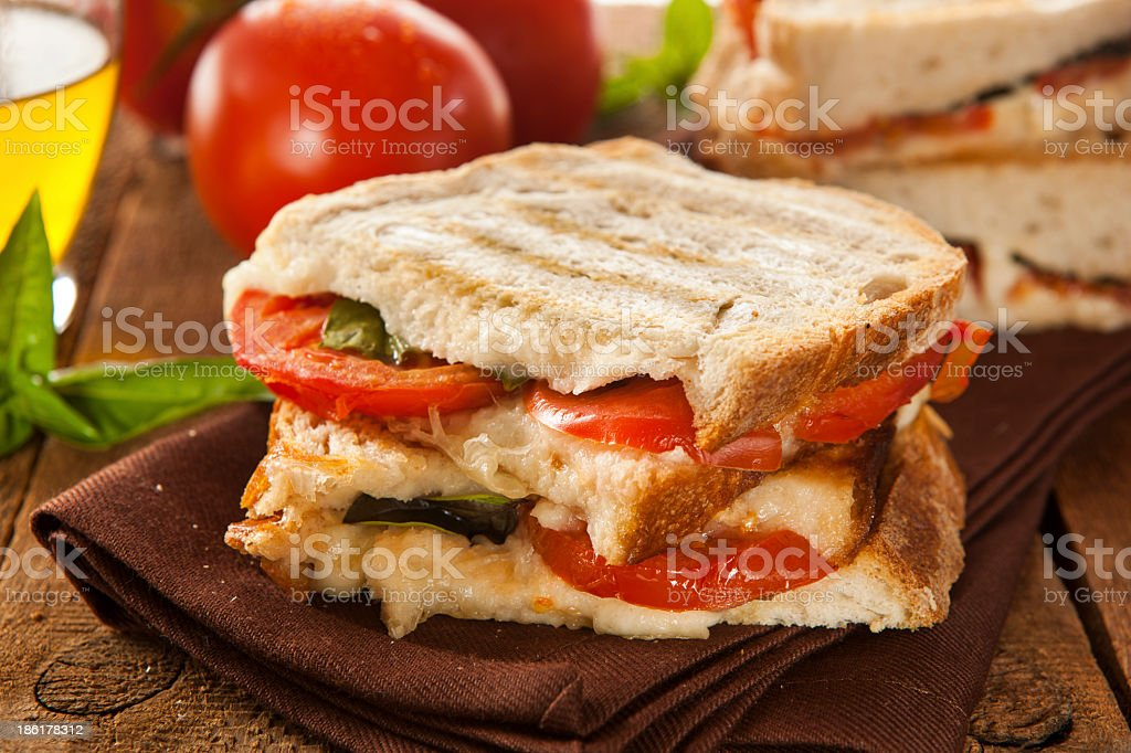 A homemade tomato and mozzarella panini with spinach royalty-free stock photo