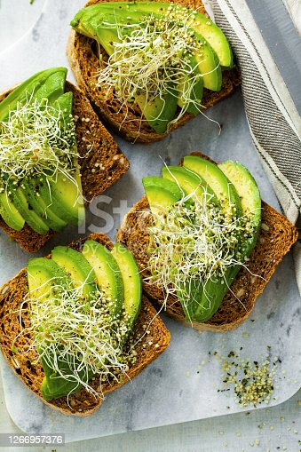 istock homemade tomato bread sandwiches with seeds and sun-dried tomatoes, served with avocado, sprouts and hemp seeds. a healthy morning breakfast or snack 1266957376