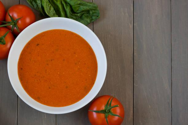 Homemade Tomato Soup Flat Lay