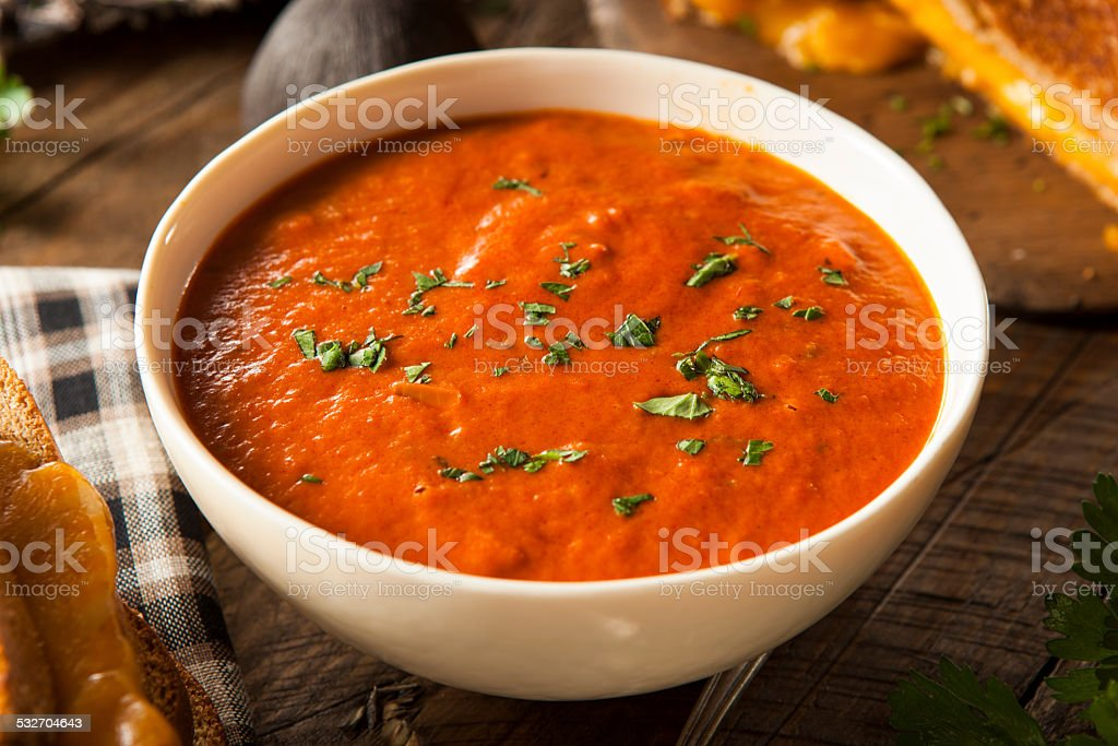 Homemade Tomato Soup with Grilled Cheese stock photo