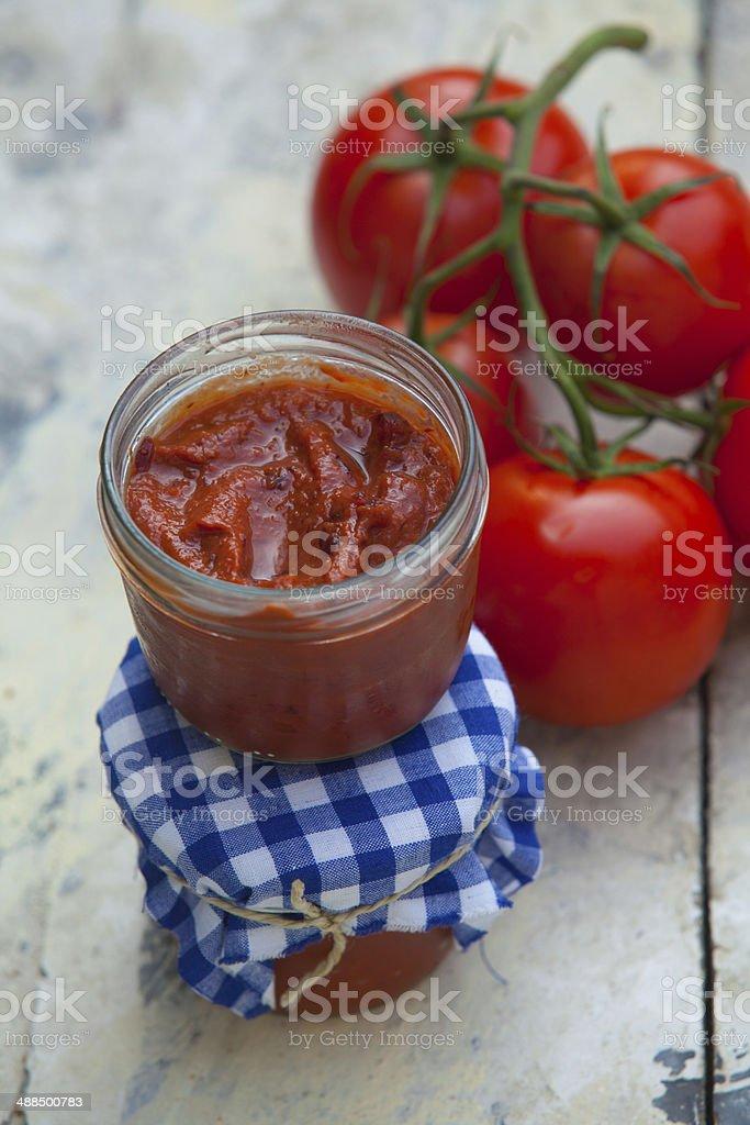 Homemade tomatoe sauce stock photo