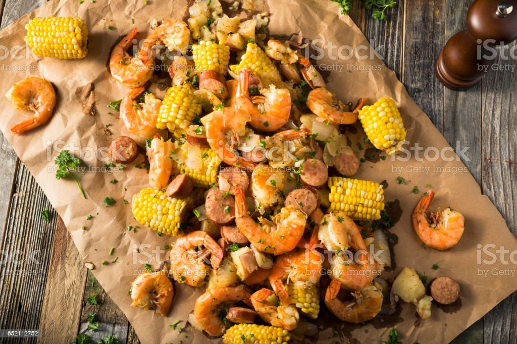 Homemade Traditional Cajun Shrimp Boil stock photo