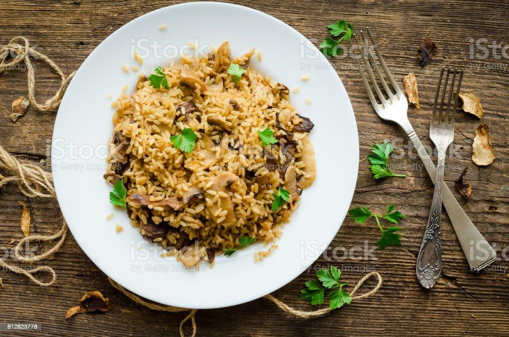 Homemade traditional Italian mushroom risotto stock photo