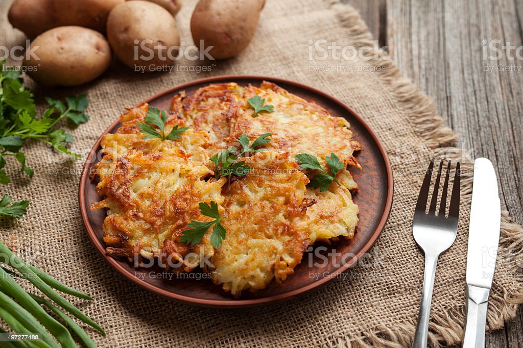 Homemade traditional potato pancakes or latke Hanukkah celebration food in stock photo