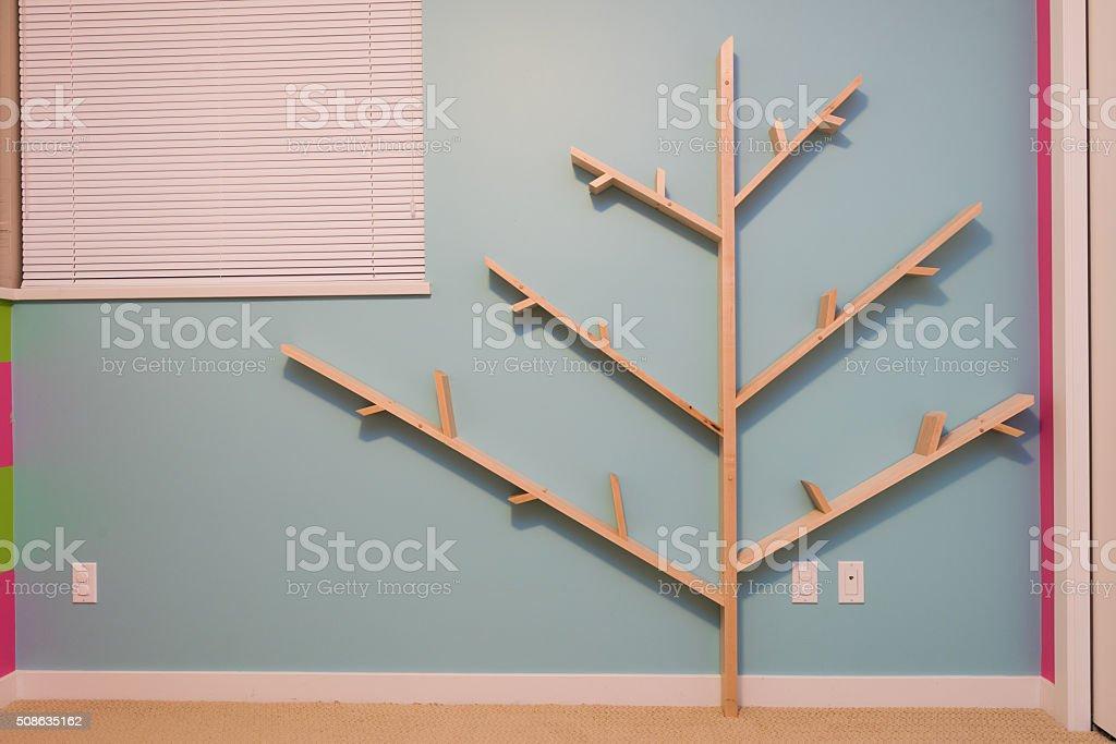 Homemade Tree Bookshelf In Kids Room Royalty Free Stock Photo