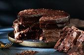 Homemade triple layer chocolate cake