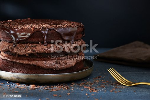 Homemade triple layer chocolate cake