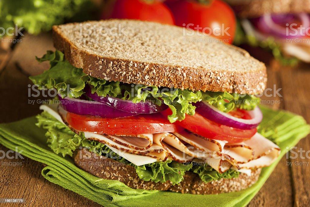 Homemade Turkey Sandwich stock photo