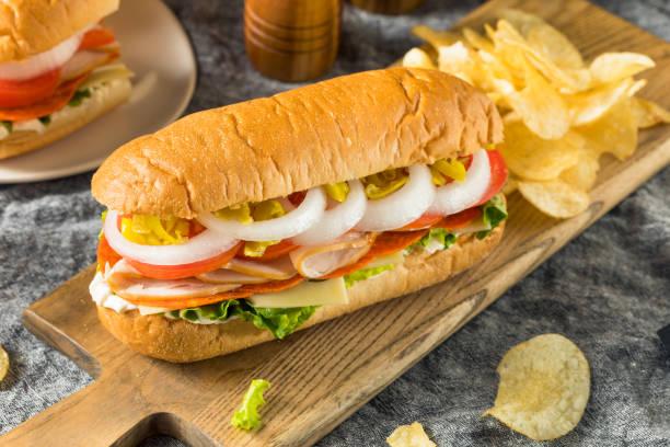 Homemade Turkey Sub Sandwich stock photo