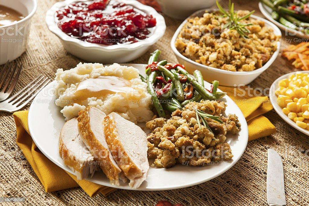 Caseras Turquía la cena del Día de Acción de gracias - Foto de stock de Al horno libre de derechos