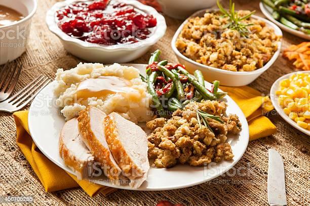 Caseras Turquía La Cena Del Día De Acción De Gracias Foto de stock y más banco de imágenes de Al horno
