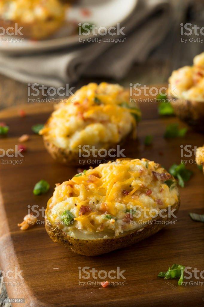 Homemade Twice Baked Potatoes - foto de acervo
