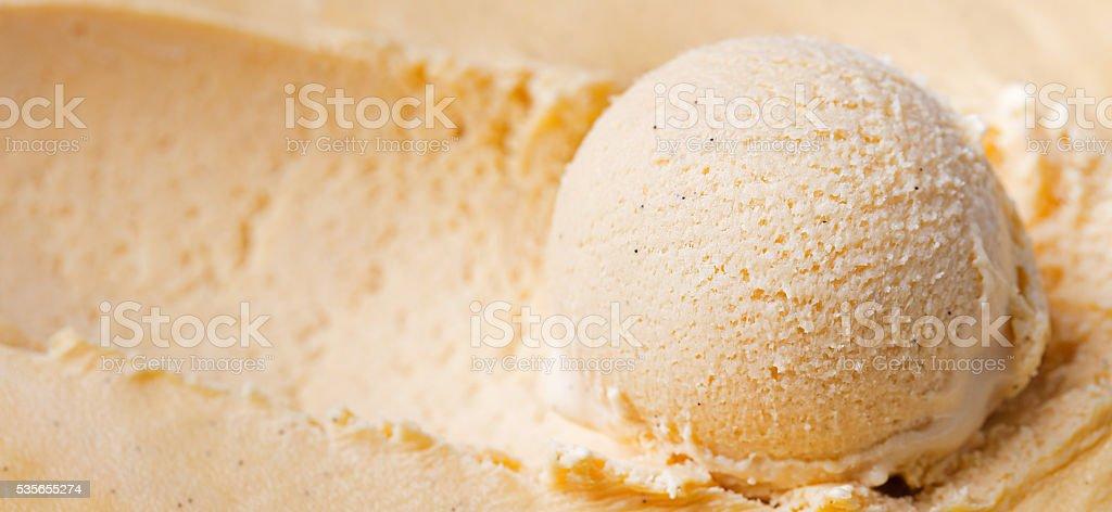 Homemade vanilla, caramel ice cream Close up stock photo
