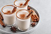 istock Homemade vanilla Christmas drink Eggnog in glass with grated nutmeg and cinnamon sticks 1183543431