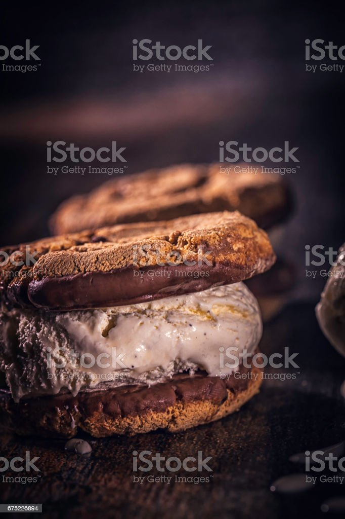 Homemade Vanilla Ice Cream Sandwich royalty-free stock photo