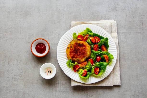 Homemade vegan cutlet stock photo